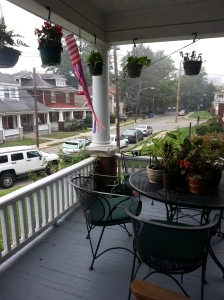 Foggy morning.  Leaves just starting to change.