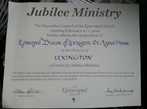 Our Jubilee Ministry Certificate!