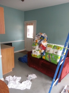 The new color for this space PLUS look at all those paper towels from the Daughters of the King!