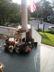 Our porch view with the flowers we purchased