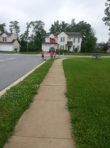 The grandchildren running to school