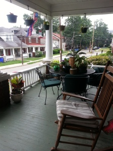When you sit on our porch, you are surrounded by plants and flowers.