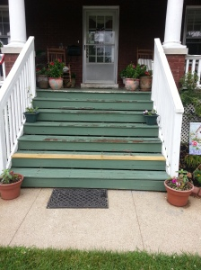 Our steps took a beating this past winter.  One has been repaired this week.  We need a few more repairs and then a good coat of paint!