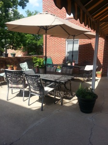 The patio is an inviting gathering place after a day at the hospital.