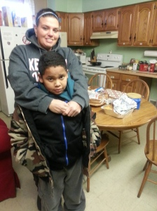 Dawn and Quentario dropped off a pan of baked Spaghetti for the guests.