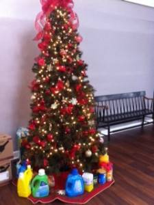 Holy Trinity, Georgetown, beautiful Angel tree with lots of things for the guests at St. Agnes' House