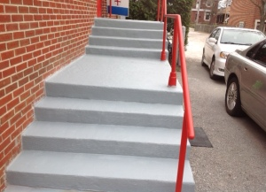 The back steps repaired from the winter weather...